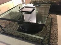 Coffee table, glass and iron, black