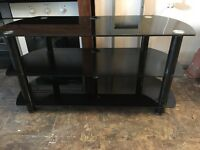 "TV STAND IN BLACK GLASS MINT CONDITION 41"" width"