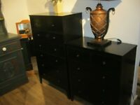 MODERN BLACK SOLID PINE CHEST OF 7 DRAWERS. IN GOOD ORDER. VIEWING / DELIVERY AVAILABLE
