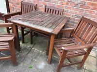 Teak Square Garden Table, 4 matching Chairs, needs attention