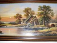 large oil painting on canvas signed document's (west german artist)