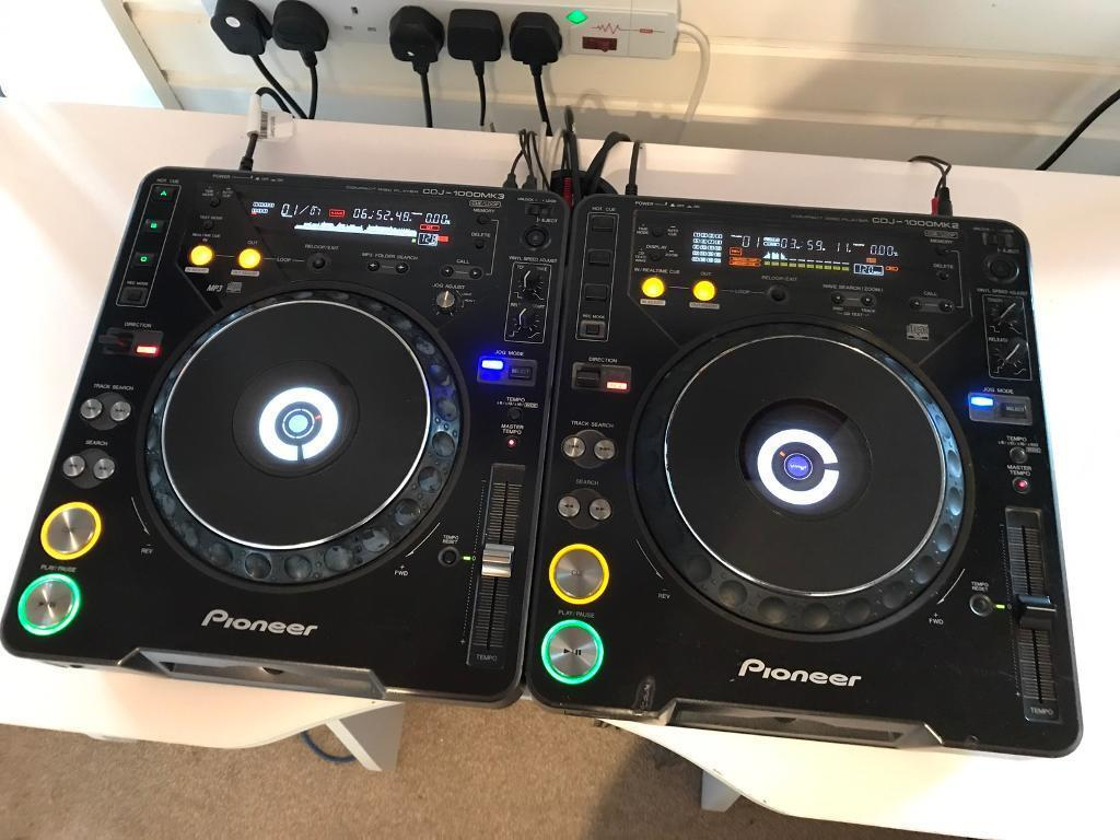Pioneer CDJ 1000 MK3 + CDJ 1000 MK2 Pair DJ Decks CD Players