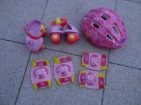 Peppa Pig Quad Skates and protection set