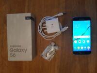 Black Samsung Galaxy S6 Phone – Excellent Condition, Box & Accessories