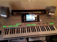 Yamaha Tyros 2 electric keyboard with stand, speaker, stool and books