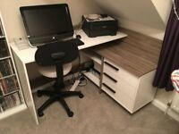 COMPUTER DESK - WHITE & GREY - WOOD - WITH CHAIR