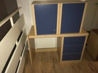 Children's desk and wall cupboard