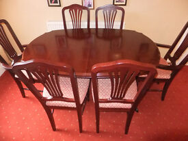 Mahogany extendable table and chairs