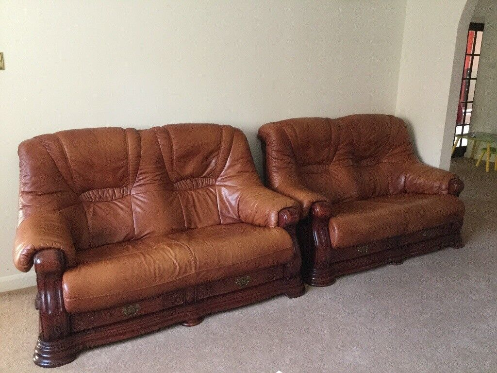Rustic Brown Leather Sofa Set With Footstool