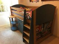 Mid Sleeper bed, desk and draws