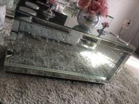 Mirrored diamond glass coffee table
