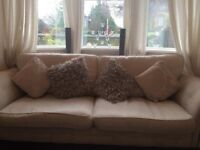 Cream 3 seater chesterfield sofa with storage foot rest