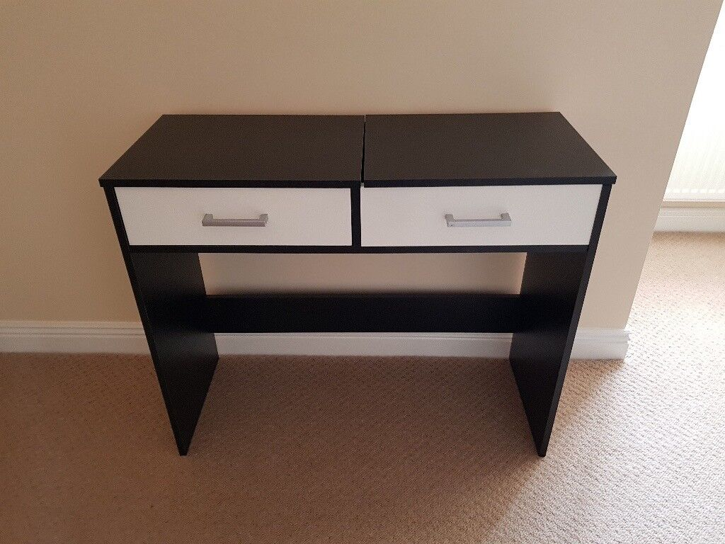 Dressing Table With Drawer And Flip Up Compartment For Vanity Mirror