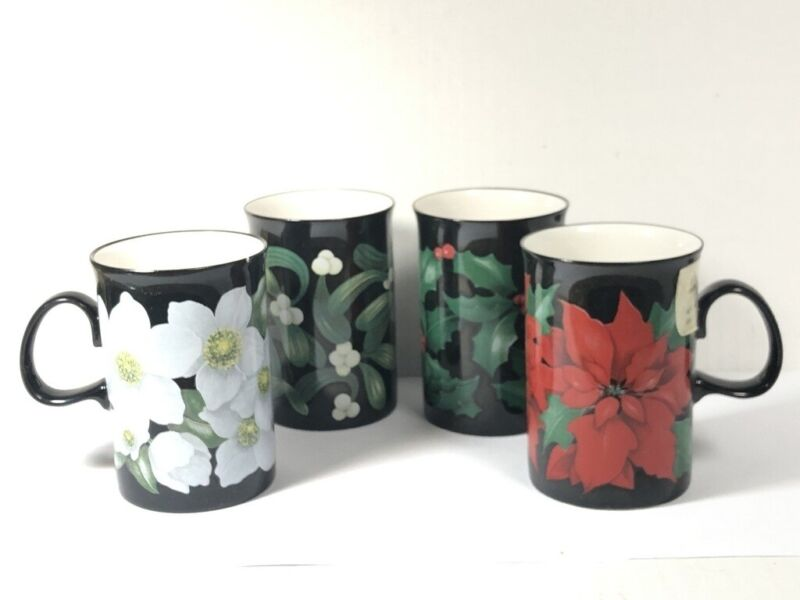 4 New Dunoon Christmas Flowers Mugs Poinsettia