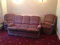 Parker knoll 3 seater,armchair and recliner