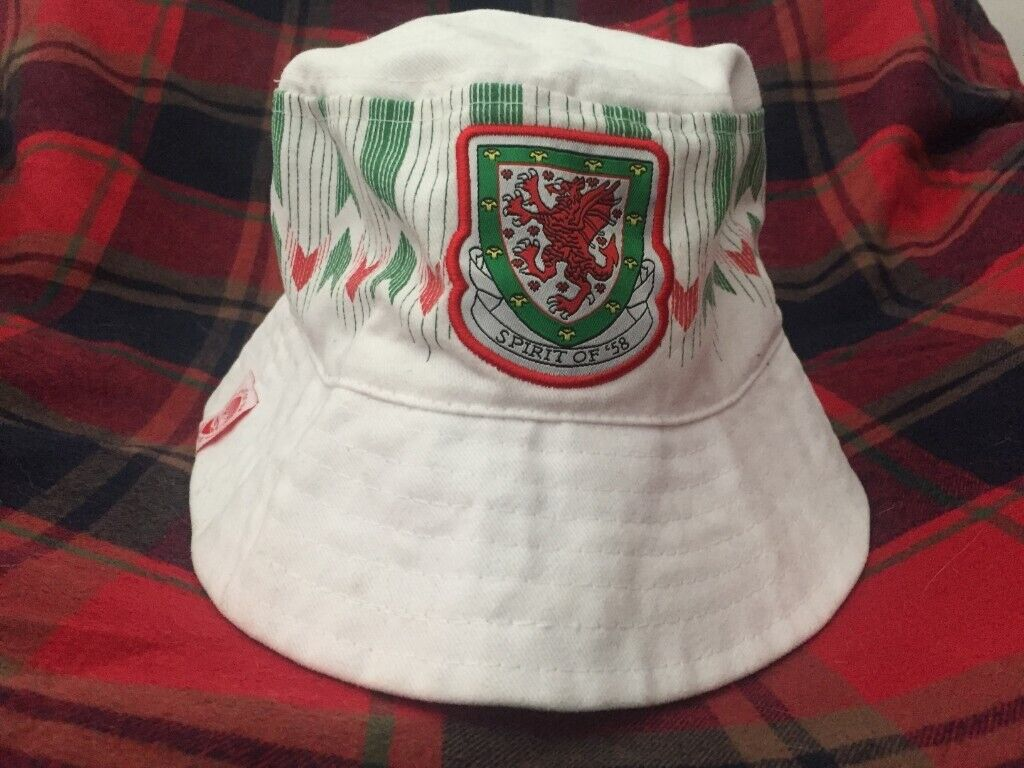 Official Spirit of 58 Wales Football Bucket Hat - 1992 away kit style.  8c450cecdce1