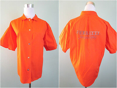 FERRETTI ITALY Woman Vtg 90s Fashion Designer Orange Oversized Shirt sz 14 AW16