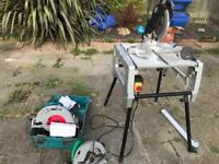 Flip over table saw and 2 power saws