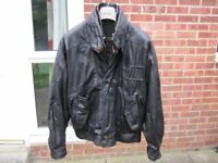 Men's Black Waist Length Leather Jacket