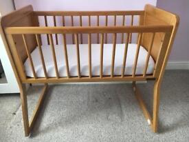 Mamas and papas wooden rocker cot crib