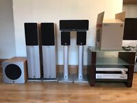 Onkyo A/V Receiver and 5.1 Channel Q Acoustics Stereo Speaker System