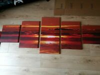 5 piece canvas sunset picture