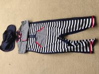 M&S full body sun protection suit with matching hat age 12-18 months