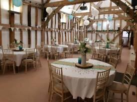 Hessian and blue/green table runners Wedding Birthday Anniversary