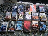 17 Fiction books, mainly crime thrillers