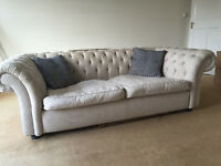 Chesterfield Sofa - 4 seat, Beige