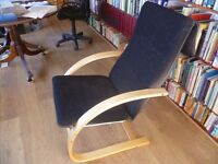 Bentwood Lounger Chair with black upholstery
