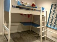 Wooden High Sleeper / Bunk Bed With Desk in Good Condition