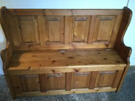 Rustic pine pew, settle, Monks bench with large storage area. Lovely colour pine and very well made