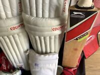 Youth size Cricket Bat, pads gloves and Hold-all etc
