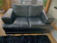 2 x 2 Seater Black Leather Sofas