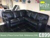 Designer Moods Black 3 Piece Corner sofa (339) £899