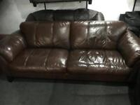 Stunning as new brown leather 2 seater sofa