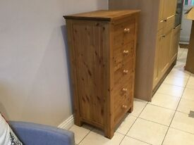 Tall narrow 5 drawer pine chest.