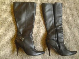 Black calf length boots - size 6 but fit a 7 - Faith