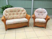 QUALITY CANE 2 PIECE CONSERVATORY FURNITURE EX CON , CAN DELIVER GT YARMOUTH AREA