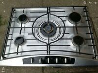 Gas hob silver surround