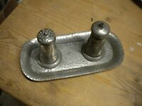 VINTAGE Pewter salt and pepper set Cruet set Shakers JT AND CO HAND BEATON PEWTER