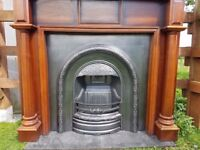 115 Cast Iron Fireplace Fire Solid Wood Arch Arched Antique Victorian Style old