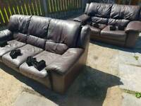 3&2 Chocolate Leather Sofas