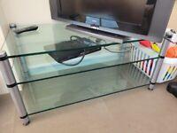 Glass 3 tier heavy duty tv stand