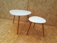 Nostra Nest of 2 Tables with white gloss finish