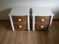 A PAIR OF MATCHING SHABBY CHIC/ RATTAN SIDE TABLES/ DRAWERS