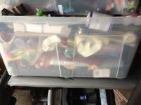 HUGE JOBLOT NO 1- CAR BOOT ITEMS 30X15X14 INCH HARD PLASTIC BOX JAM PACKED WITH STUFF WYMONDHAM
