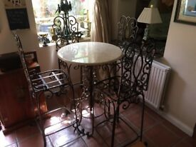 Vintage, Carrera Marble Top, Cast Iron Bistro/Cafe Table & 4 Chairs