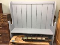 Beautiful large painted farmhouse church pew / settle perfect for hallway or dining table vintage